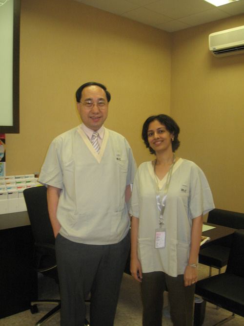 Dr. Rinky Kapoor with Professor CL Goh, Director Emeritus of the National Skin Center